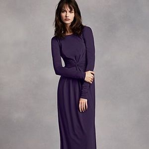 Vera Wang  Long Sleeve Jersey Dress with V Back